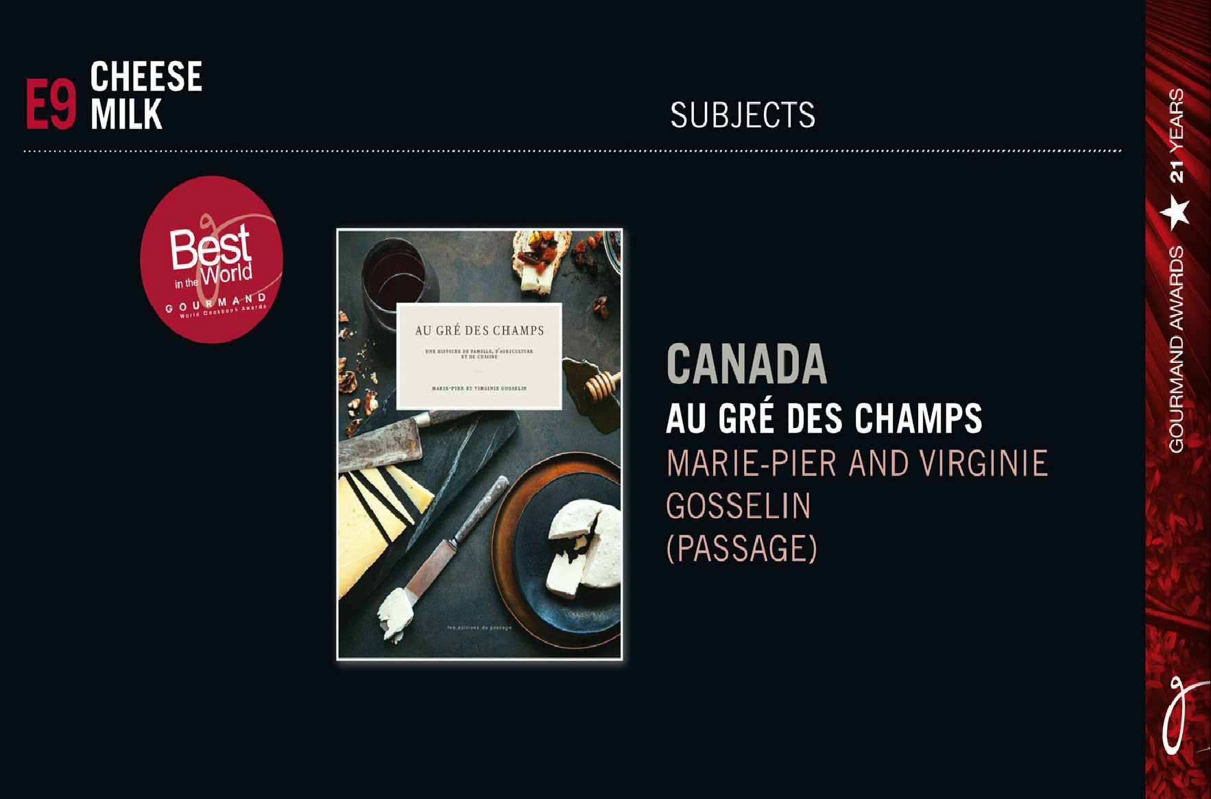 AU GRÉ DES CHAMPS remporte un Gourmand World Cookbook Award 2016 !
